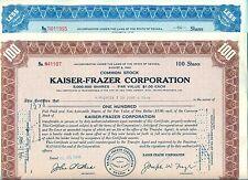 Kaiser-Frazer 2 Color Stock Certificate Set