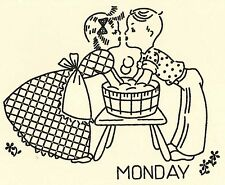 M131 - 1940's Young Love Days-of-the-week Hot Iron Embroidery Transfers