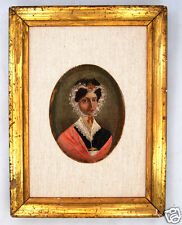 RARE UNUSUAL Antique American Folk Art PORTRAIT OIL PAINTING, Signed/Dated 1827