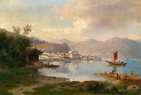 Large art Oil painting sail boats on the river beautiful landscape on canvas