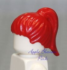 NEW Lego Female Minifig Bright RED HAIR - Minifigure Short Wig w/Girl Ponytail