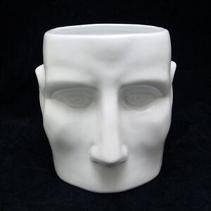 "New Modern Contemporary White Ceramic Funny Face Vase Pot Planter 6"""