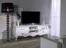 credenza dispensa porta tv bombato laccato bianco