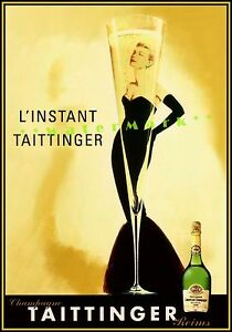 Taittinger Champagne 1955 Lady in Black Vintage Poster Print Retro Style Decor