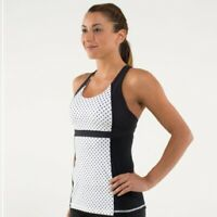 Lululemon Luxury Run Fast Track black white polka dots Tank Top women's size 6US