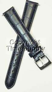 16 mm NAVY BLUE LEATHER WATCH BAND CROCO SEIKO