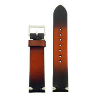 StrapsCo Tan Burnt Faded Hand-Stitched Vintage Leather Mens Watch Band Strap