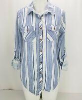 Passport Womens Shirt Sz S Button Front Long Sleeve Top Blue White Stripe Print