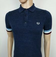 New Fred Perry Mens Polo Shirt Navy Tipped Cuffed Stretch Size S RRP £95