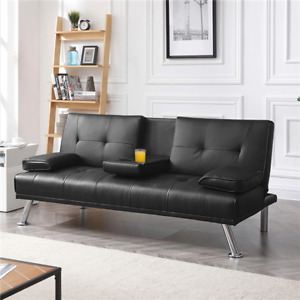 LuxuryGoods Modern Faux Leather Reclining Futon with Cupholders and Pillows, Bla