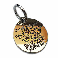 REINFORCED Deeply engraved dog tag, 39mm extra tough solid brass
