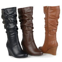 Brinley Co. Womens Wide-Calf Slouch Knee-High Dress Boot