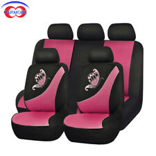 11 PCS Full Set Universal Car Seat Covers Pink Color - Butterfly Embroidery