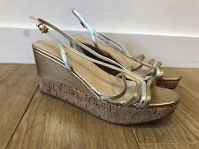 Gorgeous Women's PRADA Metallic Leather Strappy Wedge Sandals Heels UK 6.5 39.5