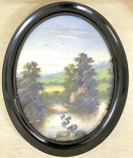 Antique Framed Oil Painting Large Oval Victorian River Landscape 19th Century