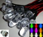 10mm Ultra Bright Pre-wired Constant/Flashing 12v LEDs Chrome Plastic Holders