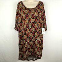 NWT LulaRoe Irma Shirt Size XL Tunic Top Paisley Geometric Magenta Black Green