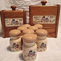 Heartland Canisters 10 pc Flour Sugar Spice Farm Life Country Scene Vintage