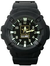 US Army Black Tactical Field Watch Water Resistant Rubber Quartz Military Glow