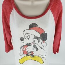 Disney Mickey Mouse Santa T Shirt XL Raglan Baseball Style Christmas Tee