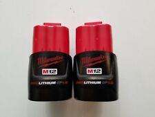 (2) MILWAUKEE 48-11-2401 M12 12V 12 VOLT RED LITHIUM BATTERY PACKS NEW 1.5 AH