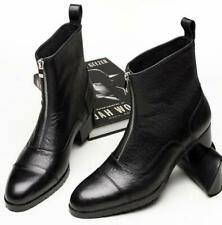 Men's Real Leather British Ankle Boots Shoes Zip Cuban Heel Pointy Toe Business