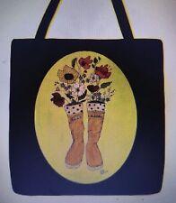 RARE Alaskan Adventure Alaska Boots Flowers whimsical purse tote bag 16 x 16