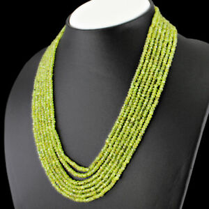 TRUELY WONDERFUL AAA 340.00 CTS NATURAL 7 LINE GREEN PERIDOT BEADS NECKLACE