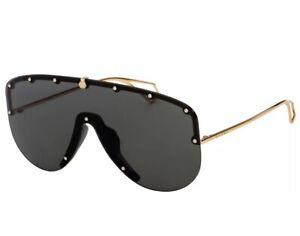 Gucci GG0667S 001 Black Gold Grey Lens Women Sunglasses Large Shield Authentic