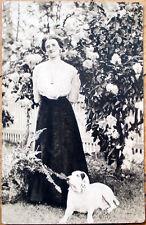 1910 Realphoto Postcard: Woman & Dog, Pocketwatch/Pocket Watch Around her Neck