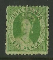 QUEENSLAND AUSTRALIA STAMPS 1860 6d GREEN QUEEN VICTORIA FINE USED *BARGAIN*
