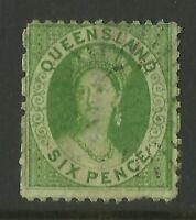 QUEENSLAND AUSTRALIA STAMPS 1860 6d GREEN QUEEN VICTORIA FINE USED *BARGAIN*