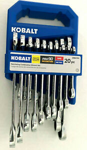 Kobalt 20-Piece Set 12-Point SAE & Metric Combination Ratcheting Wrench Set NEW