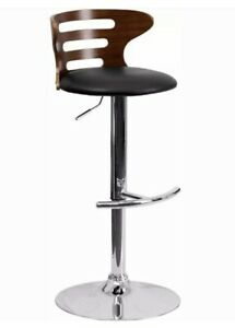 Walnut Bentwood Adj Height Barstool, Three Slot Cutout Back, Black Vinyl Seat