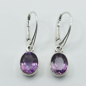 Genuine Natural Purple AMETHYST Oval Earrings STERLING SILVER Leverback #33