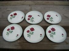 6 Vintage Barker Bros Royal Tudor Ware China Large Dinner Plates Shadow Rose MCM