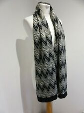 Missoni chunky black gold zig zag pattern knit scarf VGC wool blend metallic