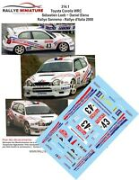 DECALS 1/43 REF 314 TOYOTA COROLLA WRC SEBASTIEN LOEB RALLY SAN REMO ITALIA 2000