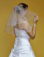 Wedding Veil Shoulder Length Pencil Edge Comb Attached W3