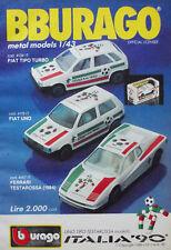 Pubblicità Advertising Werbung Italian 1989 BBURAGO FIAT TIPO UNO ITALIA 90