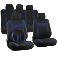 Car Seat Cover 17pc for Auto + Steering Wheel/Belt Pad/Head Rest Blue Y Stripe