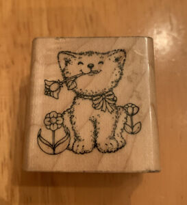 Vintage 1985 Hero Arts Rubber Stamp Cat With Flower In Mouth Garden Cute Happy