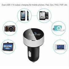 Silver Dual USB Adapter Car Charger For iPhone Samsung 3.1A Voltage LED Display