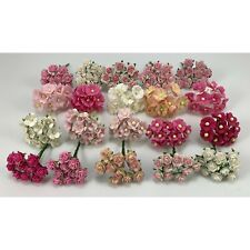 200 MIXED 4 Designs Mini - Small Cottage Rose Paper Flower Scrapbook (R&S-PanA7)