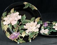 Fitz Floyd CLOISONNE PEONY BLACK 2 Accent Salad Plates GREAT CONDITION