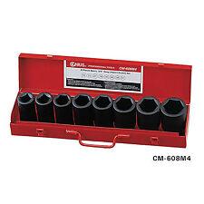 "New 8 Pcs 3/4"" Dr. Metric Deep Impact Socket & Budd Wheel Socket Set CM-608M4"