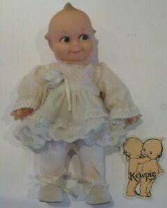 """Kewpie 8"""" Doll By Jesco Dressed in White Party Dress"""