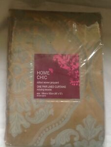Home Chic Woven  Gladstone Jacquard Pair of Lined Curtains. Size 168cm x 183cm.