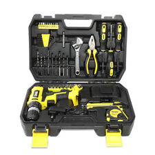46Pcs Home Repair Hand Hardware Tool Set Toolbox Cordless Drill+Charger+Wrench