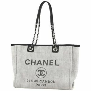 CHANEL DEAUVILLE LINE Chain Tote Bag MM Coco Mark Canvas Gray Women #BS123